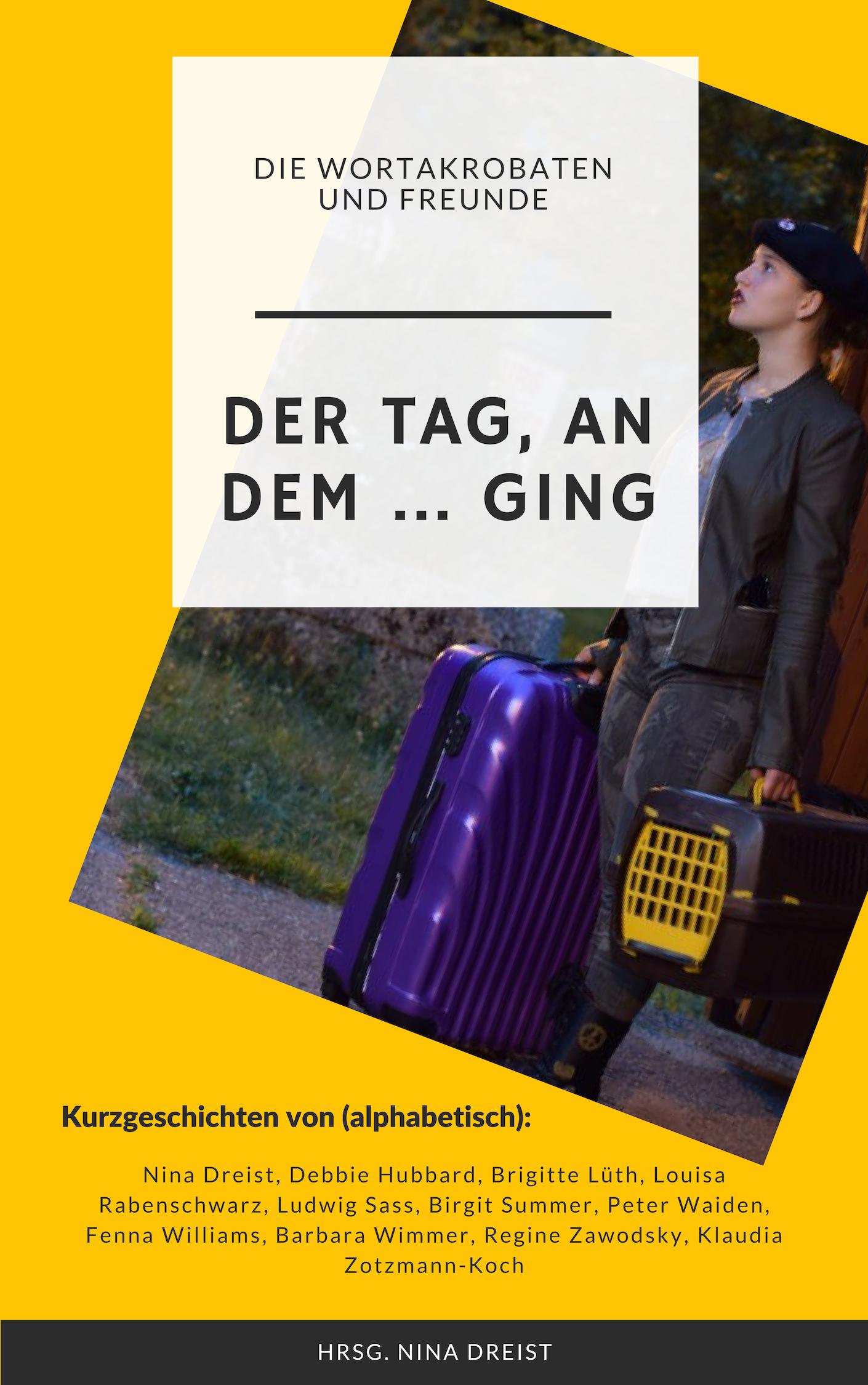 Buchcover mit einem Mädchen mit Koffer und Katzenkorb an einer Busstation