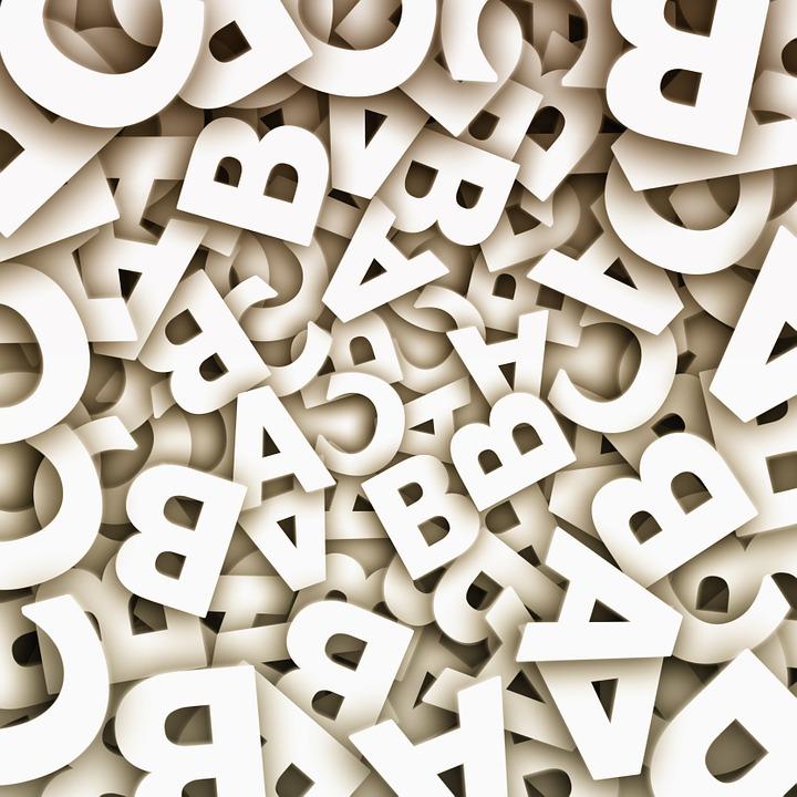 Buchstaben, wild durcheinander