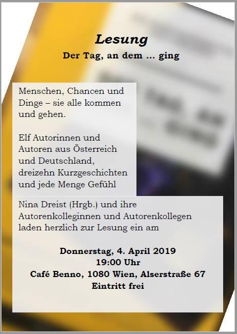 """Lesung aus der Anthologie """"Der Tag, an dem ... ging"""" am 4. April um 19.00h im Keller des Café Benno; Alserstraße 67"""